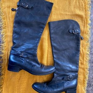 Cuoio Black Leather Knee Riding Boots, size 38